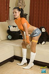 Leaning Forward Hands On Knees Wearing Fishnet Stockings