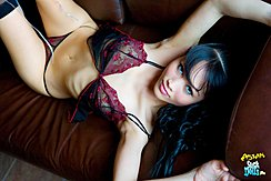 Lying On Her Back In Lingerie Looking Up