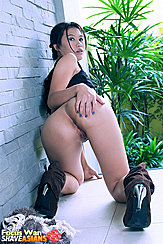 In Doggy Style Position Hand On Bare Ass High Heel Brown Boots