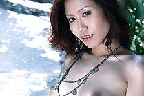 Skinny Miki Sukawa stripping dress and posing nude