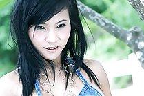 Breasty Lucy Sun strips denim bikini outdoors