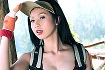 Long haired beauty Lin Si Yee strips naked on hiking trip