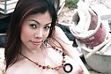 Breasty babe May Supha strips naked on building site
